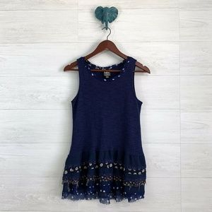 One September Anthro Navy Knit Tiered Tank